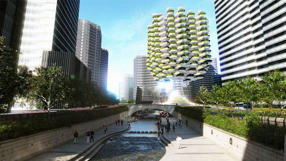 自然の大木をイメージした垂直農場 植物工場や様々なクリーンテクノロジーを導入