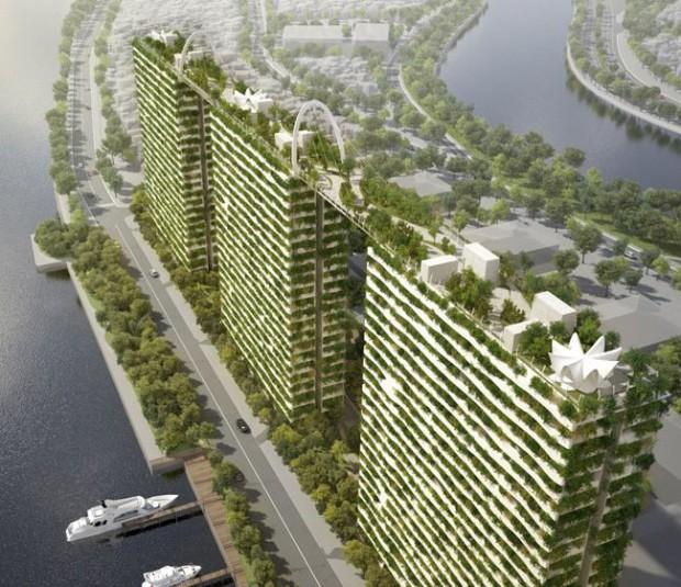 ベトナムの環境都市エコシティ、高層タワーに緑の空中庭園プラン