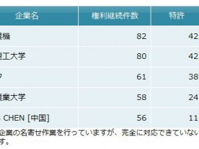 中国における【移植・田植機分野】特許出願、トップは井関農機
