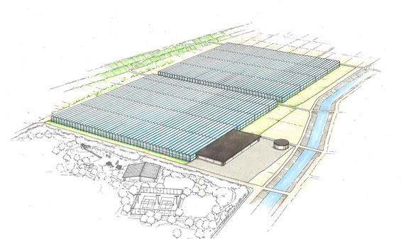 国内生産者への出資を通じてトマトの生産事業へ参入。山梨県北斗市に国内最大級のトマト生産用の植物工場の稼働を目指す(三井物産・サラダボウル)