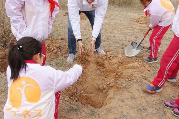 中国内モンゴル自治区に耐乾性・高栄養化「サジー」の苗木を植林