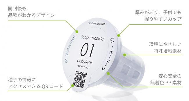 アドトロンテクノロジー、家庭用の小型・IoT植物工場「foop」にカプセル型種子キットを開発