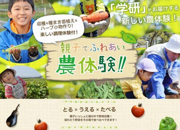 学研がお届けする1Day開放のアグリパーク。農作業~収穫・調理体験と盛りだくさん