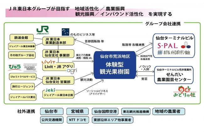 JR東日本グループ、仙台市荒浜地区に体験型・観光果樹園を整備