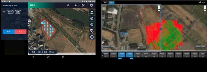 テックファーム、ドローンで農地の生育確認。独自のスマホアプリで自動操縦が可能に