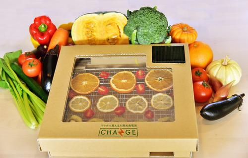太陽光パネルを採用した食品乾燥キット・ダンボール製「ソーラーフード・ドライヤー」